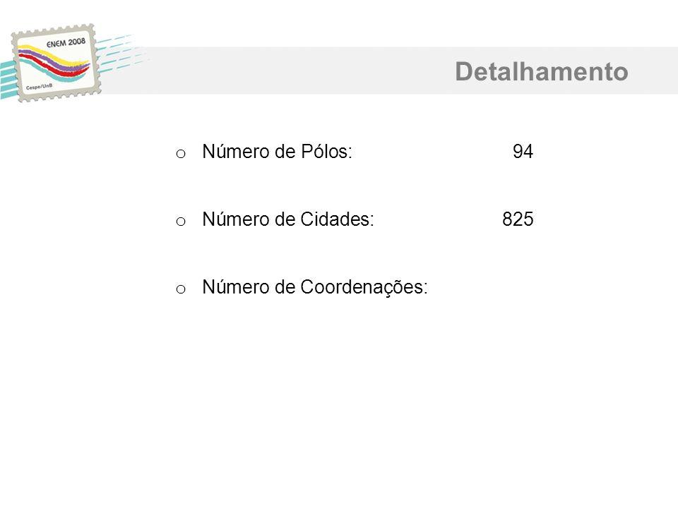 Detalhamento o Número de Pólos:94 o Número de Cidades:825 o Número de Coordenações: