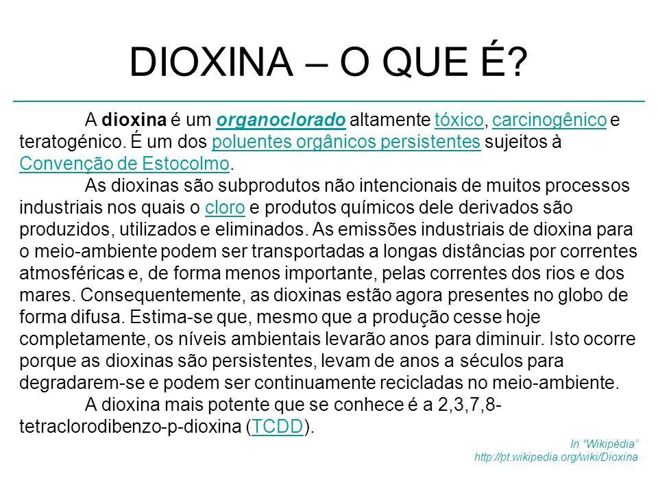 DIOXINA – O QUE É? A dioxina é um organoclorado altamente tóxico, carcinogênico e teratogénico. É um dos poluentes orgânicos persistentes sujeitos à C