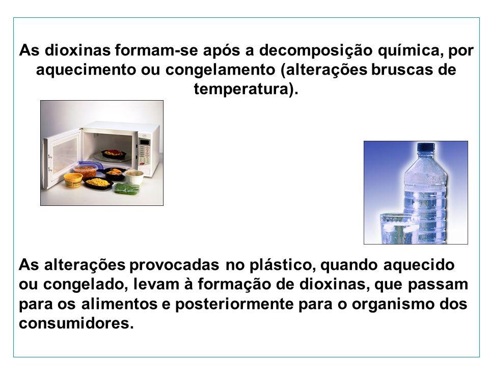 As dioxinas formam-se após a decomposição química, por aquecimento ou congelamento (alterações bruscas de temperatura).