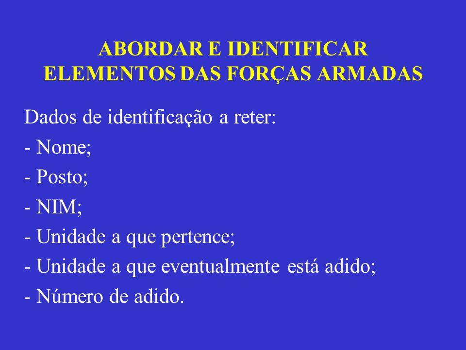 ABORDAR E IDENTIFICAR ELEMENTOS DAS FORÇAS ARMADAS Dados de identificação a reter: - Nome; - Posto; - NIM; - Unidade a que pertence; - Unidade a que e