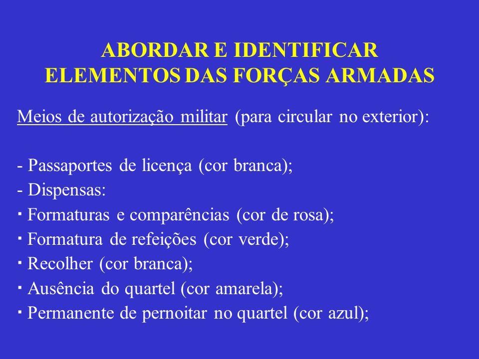 ABORDAR E IDENTIFICAR ELEMENTOS DAS FORÇAS ARMADAS Meios de autorização militar (para circular no exterior): - Passaportes de licença (cor branca); -