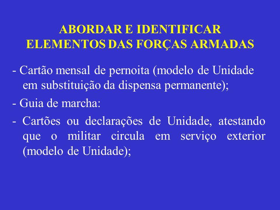 ABORDAR E IDENTIFICAR ELEMENTOS DAS FORÇAS ARMADAS - Cartão mensal de pernoita (modelo de Unidade em substituição da dispensa permanente); - Guia de m