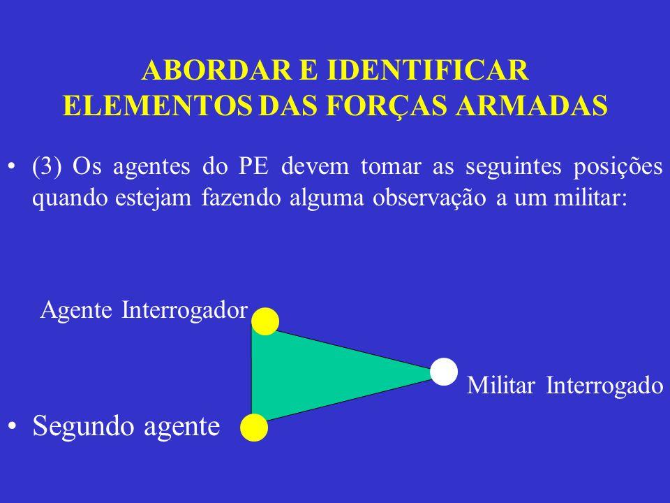 ABORDAR E IDENTIFICAR ELEMENTOS DAS FORÇAS ARMADAS (3) Os agentes do PE devem tomar as seguintes posições quando estejam fazendo alguma observação a u