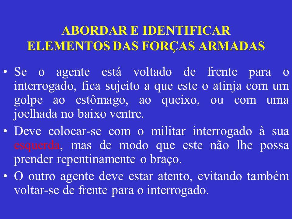 ABORDAR E IDENTIFICAR ELEMENTOS DAS FORÇAS ARMADAS Meios de identificação A identificação de um militar deve ser feita com base no seu Cartão de Identificação Militar (CIM).