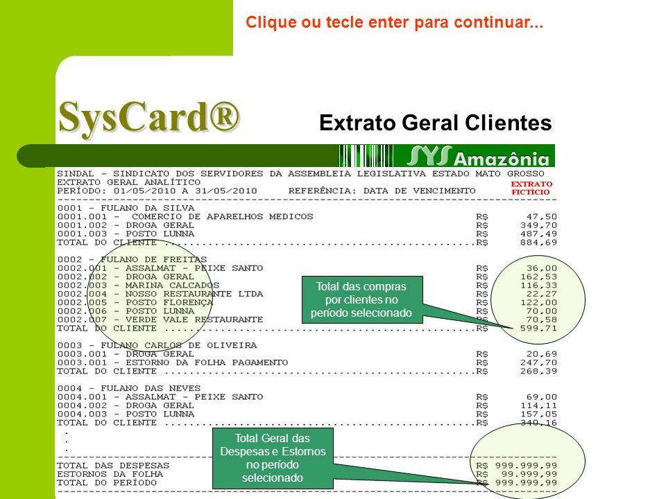 Extrato Específico Cliente Clique ou tecle enter para continuar... Exemplo de Extrato ilustrativo ( por período ) Dados do cliente, cartão e limite me