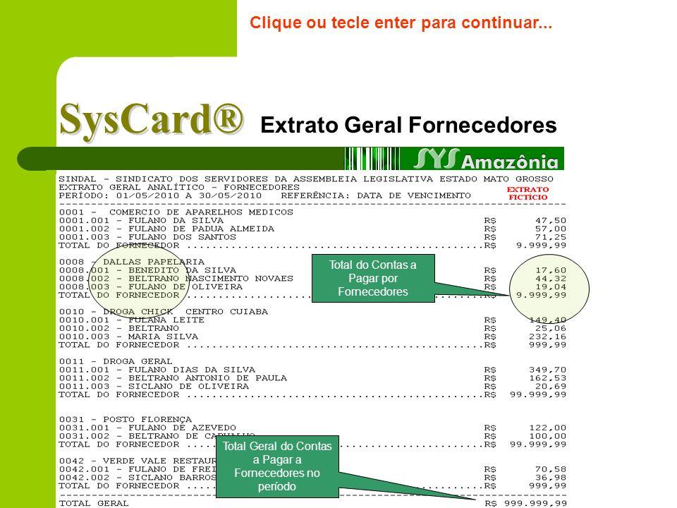 Extrato Geral Clientes Clique ou tecle enter para continuar... Total Geral das Despesas e Estornos no período selecionado Total das compras por client