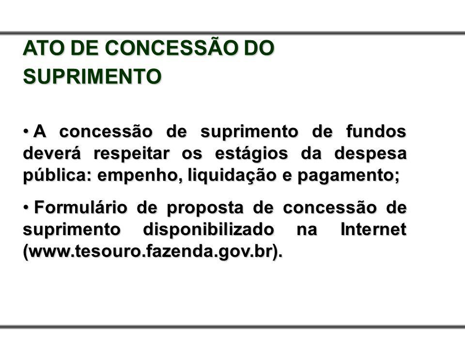 ATO DE CONCESSÃO DO SUPRIMENTO A concessão de suprimento de fundos deverá respeitar os estágios da despesa pública: empenho, liquidação e pagamento; A