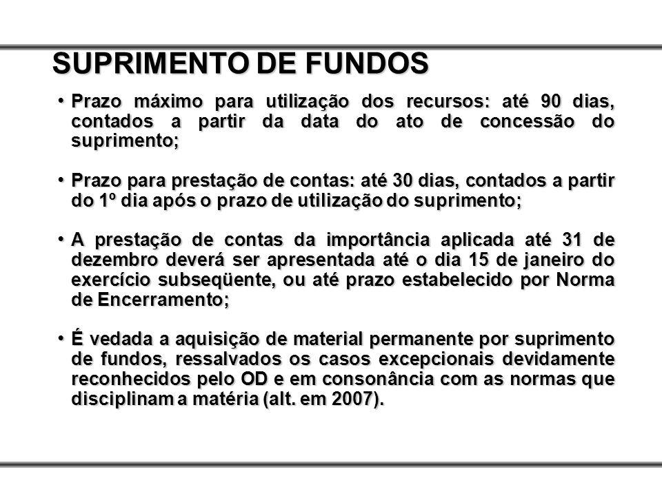 Prazo máximo para utilização dos recursos: até 90 dias, contados a partir da data do ato de concessão do suprimento; Prazo máximo para utilização dos