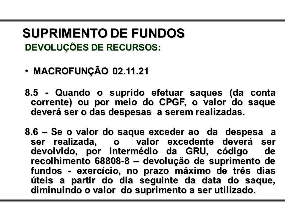 DEVOLUÇÕES DE RECURSOS: MACROFUNÇÃO 02.11.21 MACROFUNÇÃO 02.11.21 8.5 - Quando o suprido efetuar saques (da conta corrente) ou por meio do CPGF, o val