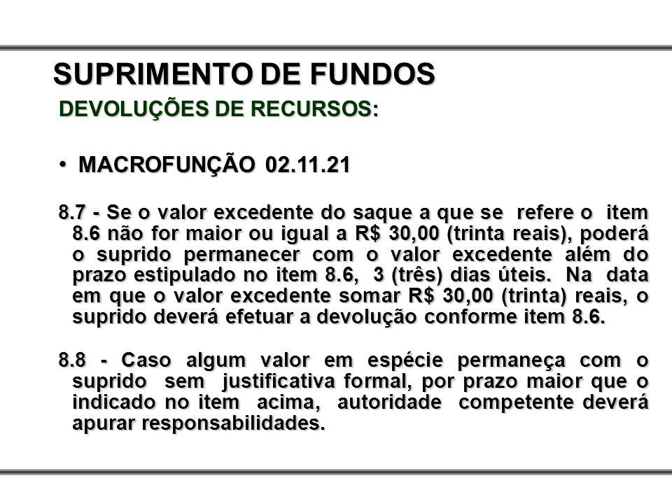 DEVOLUÇÕES DE RECURSOS: MACROFUNÇÃO 02.11.21 MACROFUNÇÃO 02.11.21 8.7 - Se o valor excedente do saque a que se refere o item 8.6 não for maior ou igua