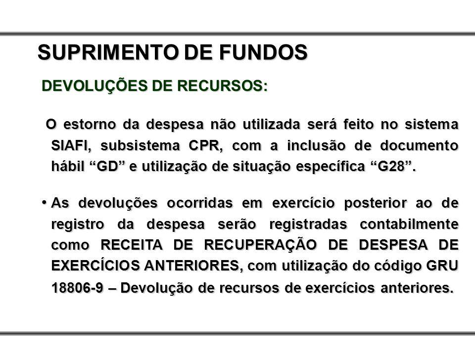 DEVOLUÇÕES DE RECURSOS: O estorno da despesa não utilizada será feito no sistema SIAFI, subsistema CPR, com a inclusão de documento hábil GD e utiliza