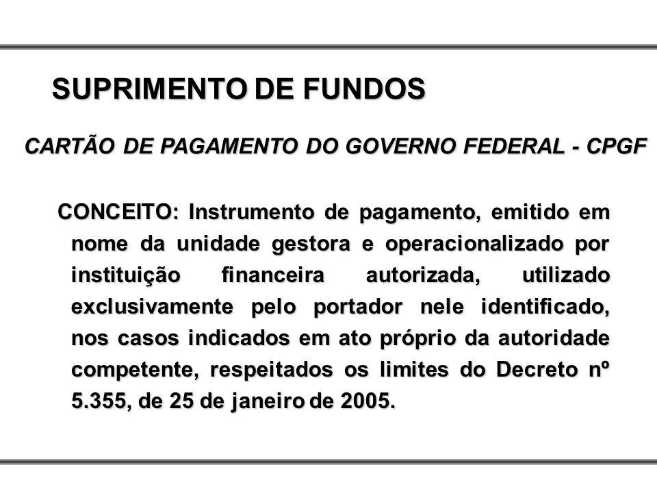CONCEITO: Instrumento de pagamento, emitido em nome da unidade gestora e operacionalizado por instituição financeira autorizada, utilizado exclusivame