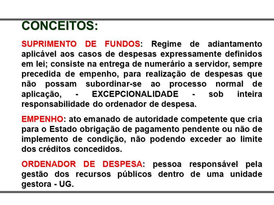 CONCEITOS: SUPRIMENTO DE FUNDOS: Regime de adiantamento aplicável aos casos de despesas expressamente definidos em lei; consiste na entrega de numerár