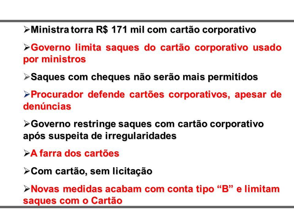 Ministra torra R$ 171 mil com cartão corporativo Ministra torra R$ 171 mil com cartão corporativo Governo limita saques do cartão corporativo usado po