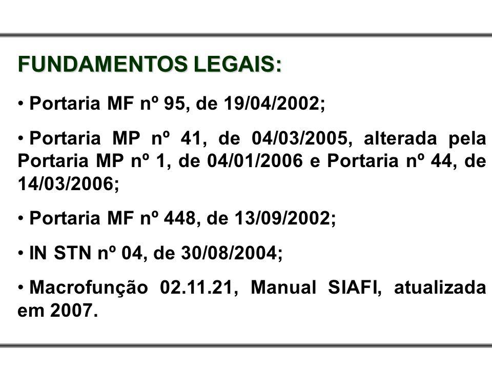 FUNDAMENTOS LEGAIS: Portaria MF nº 95, de 19/04/2002; Portaria MP nº 41, de 04/03/2005, alterada pela Portaria MP nº 1, de 04/01/2006 e Portaria nº 44