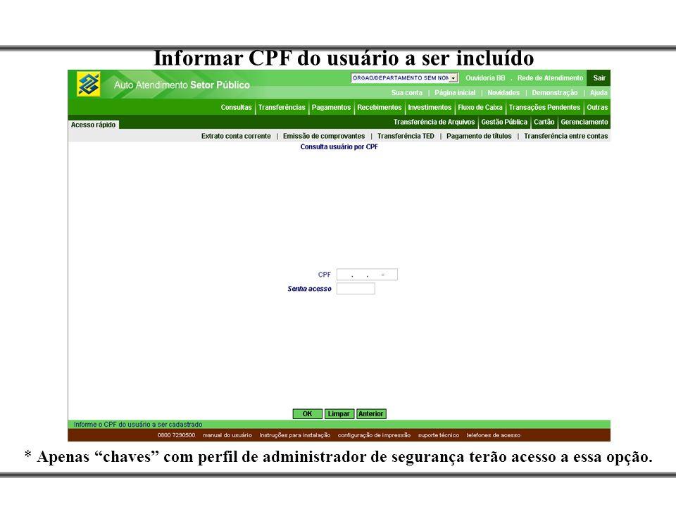 Informar CPF do usuário a ser incluído * Apenas chaves com perfil de administrador de segurança terão acesso a essa opção.