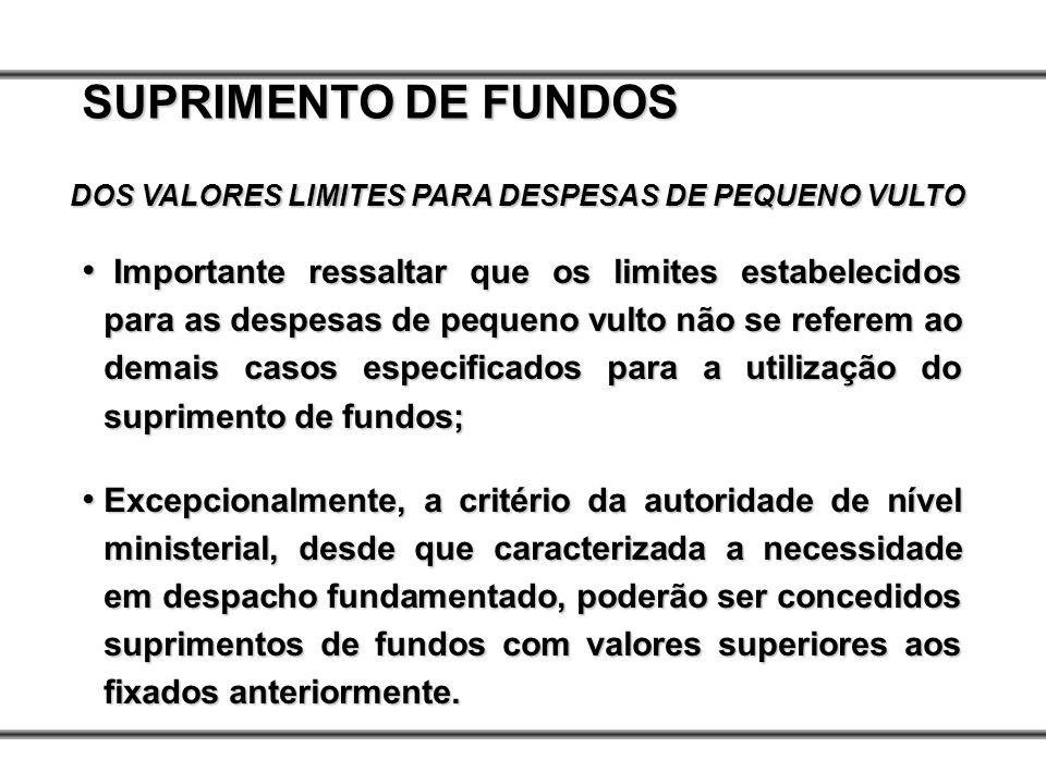 SUPRIMENTO DE FUNDOS DOS VALORES LIMITES PARA DESPESAS DE PEQUENO VULTO Importante ressaltar que os limites estabelecidos para as despesas de pequeno
