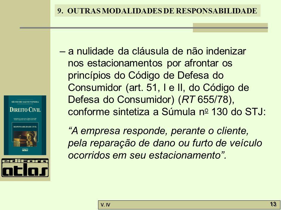 9. OUTRAS MODALIDADES DE RESPONSABILIDADE V. IV 13 – a nulidade da cláusula de não indenizar nos estacionamentos por afrontar os princípios do Código