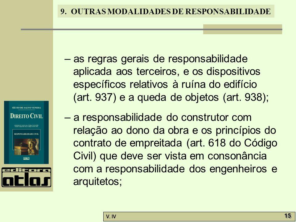 9. OUTRAS MODALIDADES DE RESPONSABILIDADE V. IV 15 – as regras gerais de responsabilidade aplicada aos terceiros, e os dispositivos específicos relati