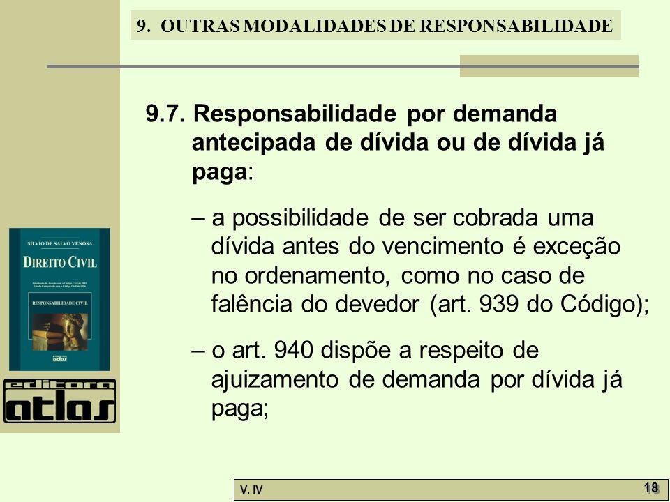 9. OUTRAS MODALIDADES DE RESPONSABILIDADE V. IV 18 9.7. Responsabilidade por demanda antecipada de dívida ou de dívida já paga: – a possibilidade de s