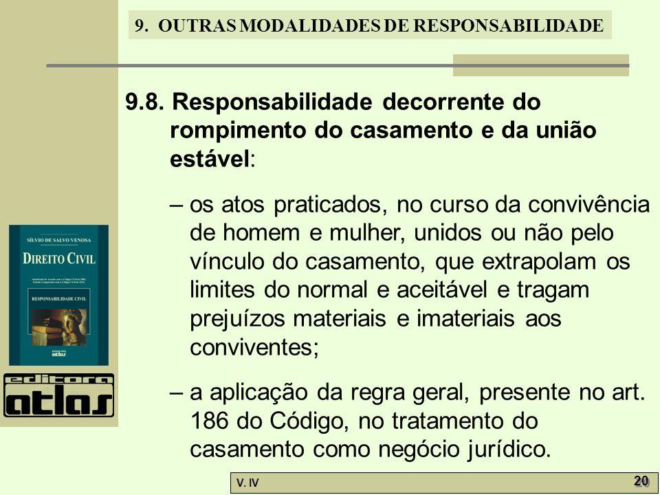 9. OUTRAS MODALIDADES DE RESPONSABILIDADE V. IV 20 9.8. Responsabilidade decorrente do rompimento do casamento e da união estável: – os atos praticado