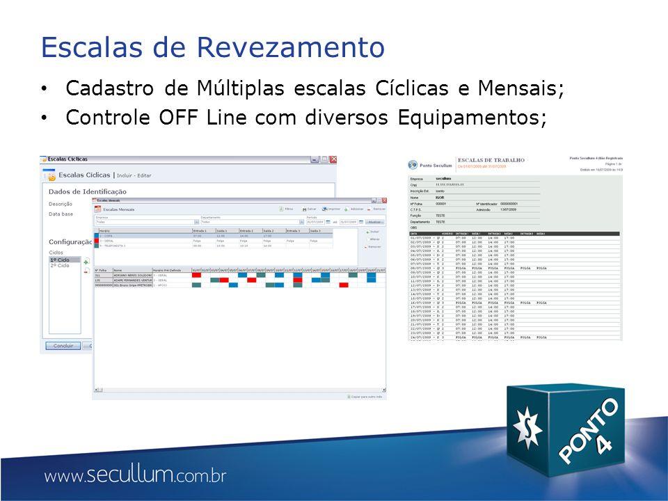 Escalas de Revezamento Cadastro de Múltiplas escalas Cíclicas e Mensais; Controle OFF Line com diversos Equipamentos;