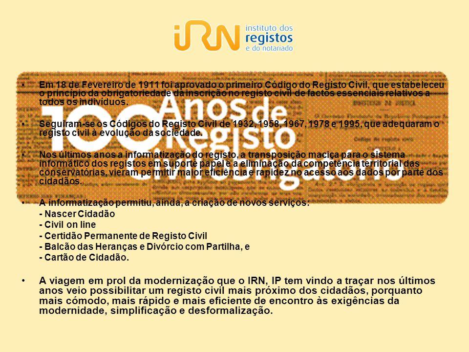 Em 18 de Fevereiro de 1911 foi aprovado o primeiro Código do Registo Civil, que estabeleceu o princípio da obrigatoriedade da inscrição no registo civ