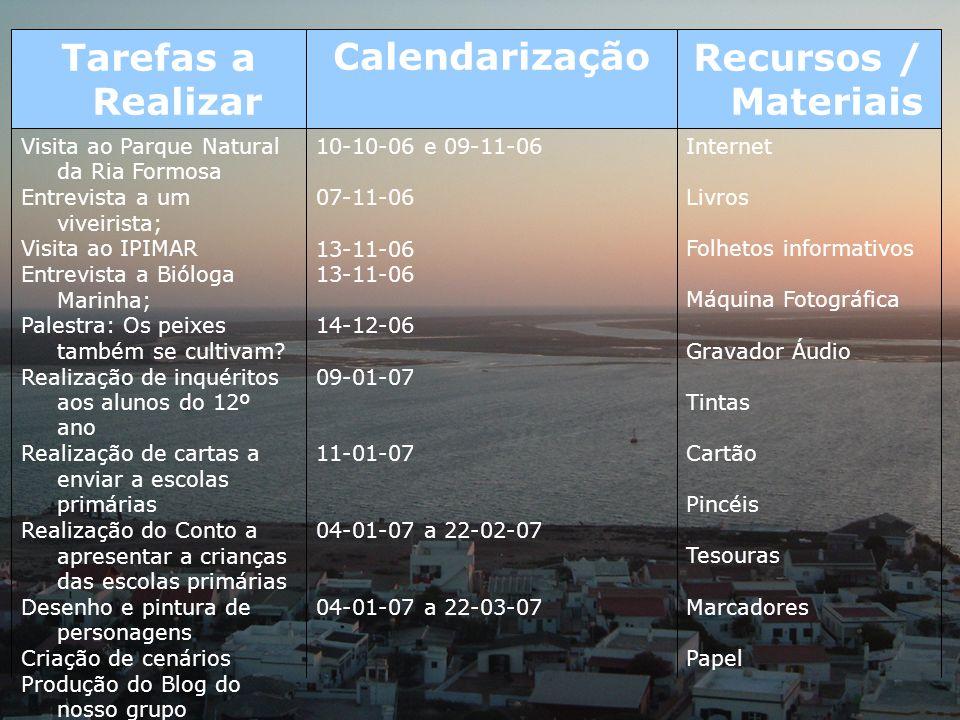 Internet Livros Folhetos informativos Máquina Fotográfica Gravador Áudio Tintas Cartão Pincéis Tesouras Marcadores Papel 10-10-06 e 09-11-06 07-11-06