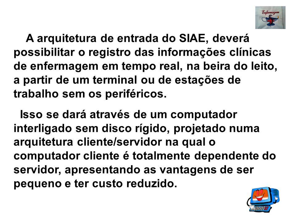 A arquitetura de entrada do SIAE, deverá possibilitar o registro das informações clínicas de enfermagem em tempo real, na beira do leito, a partir de