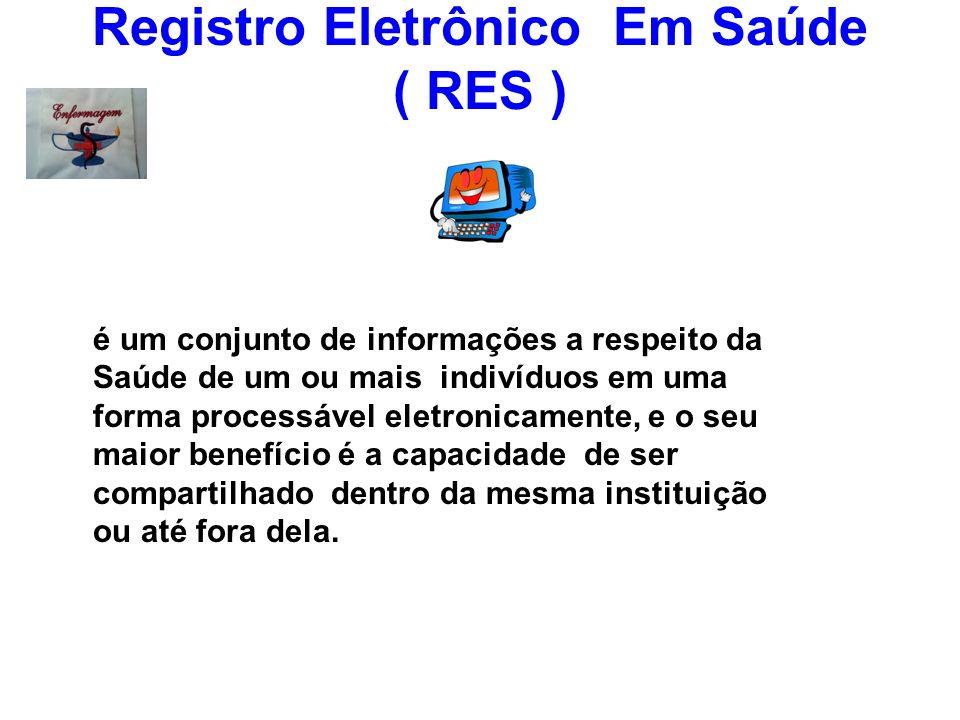 Registro Eletrônico Em Saúde ( RES ) é um conjunto de informações a respeito da Saúde de um ou mais indivíduos em uma forma processável eletronicament
