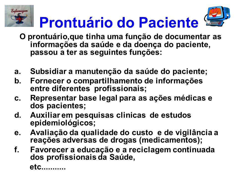 Prontuário do Paciente O prontuário,que tinha uma função de documentar as informações da saúde e da doença do paciente, passou a ter as seguintes funç