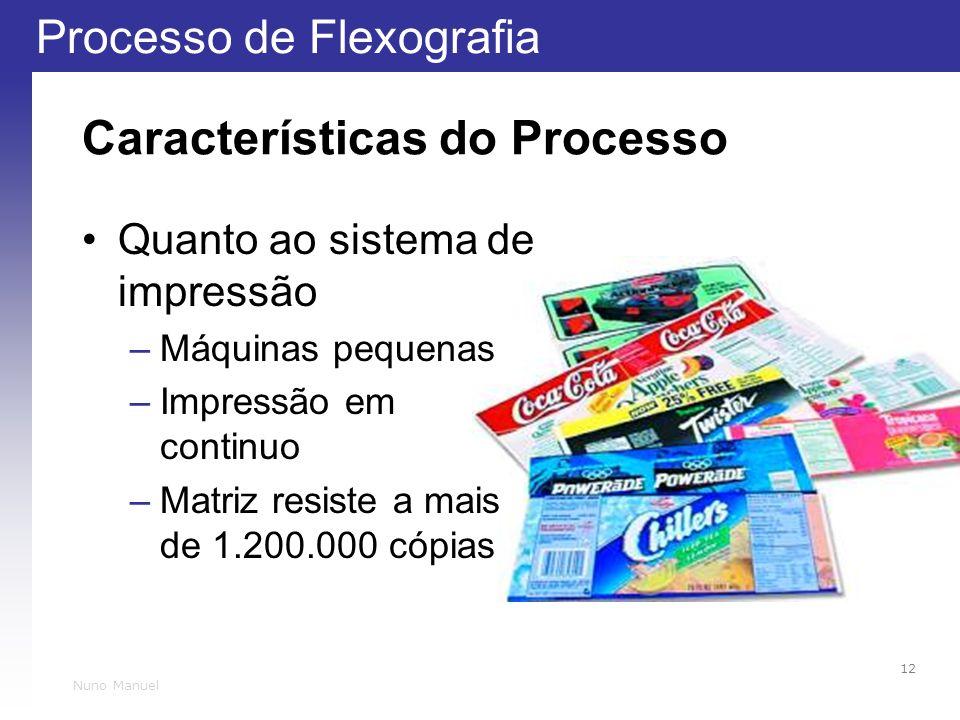 Processo de Flexografia 12 Nuno Manuel Características do Processo Quanto ao sistema de impressão –Máquinas pequenas –Impressão em continuo –Matriz resiste a mais de 1.200.000 cópias