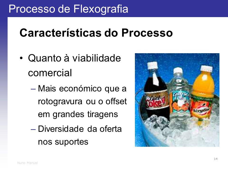 Processo de Flexografia 14 Nuno Manuel Características do Processo Quanto à viabilidade comercial –Mais económico que a rotogravura ou o offset em grandes tiragens –Diversidade da oferta nos suportes