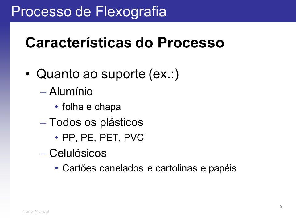 Processo de Flexografia 9 Nuno Manuel Características do Processo Quanto ao suporte (ex.:) –Alumínio folha e chapa –Todos os plásticos PP, PE, PET, PVC –Celulósicos Cartões canelados e cartolinas e papéis
