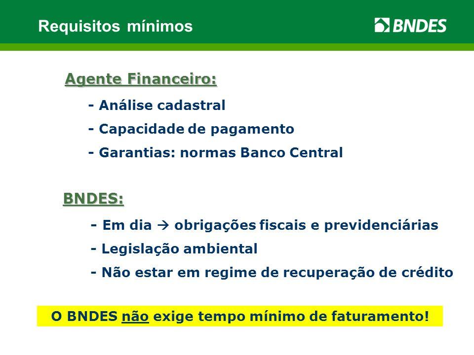 Agente Financeiro: - Análise cadastral - Capacidade de pagamento - Garantias: normas Banco Central BNDES: - Em dia obrigações fiscais e previdenciária