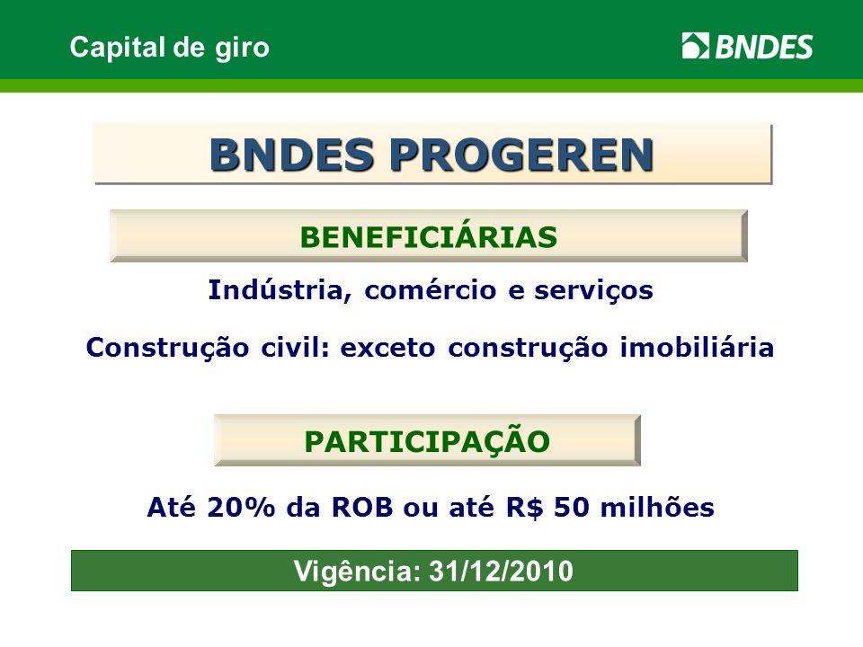 PARTICIPAÇÃO Até 20% da ROB ou até R$ 50 milhões BENEFICIÁRIAS Indústria, comércio e serviços Construção civil: exceto construção imobiliária BNDES PR