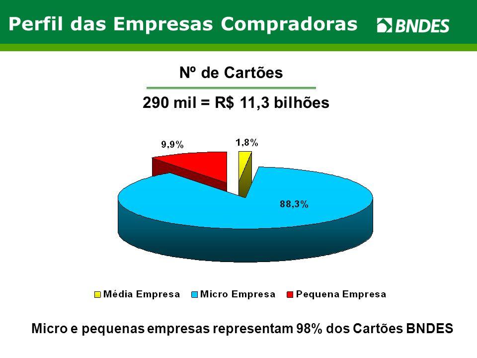 Nº de Cartões 290 mil = R$ 11,3 bilhões Micro e pequenas empresas representam 98% dos Cartões BNDES Perfil das Empresas Compradoras