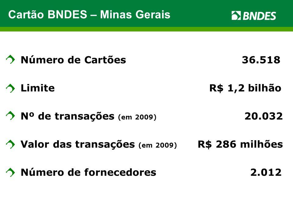 Número de Cartões 36.518 Limite R$ 1,2 bilhão Nº de transações (em 2009) 20.032 Valor das transações (em 2009) R$ 286 milhões Número de fornecedores 2