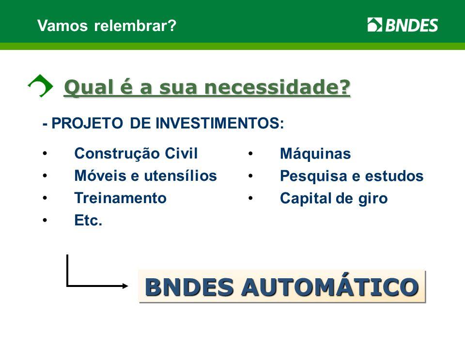 Vamos relembrar? - PROJETO DE INVESTIMENTOS: Construção Civil Móveis e utensílios Treinamento Etc. BNDES AUTOMÁTICO Qual é a sua necessidade? Máquinas