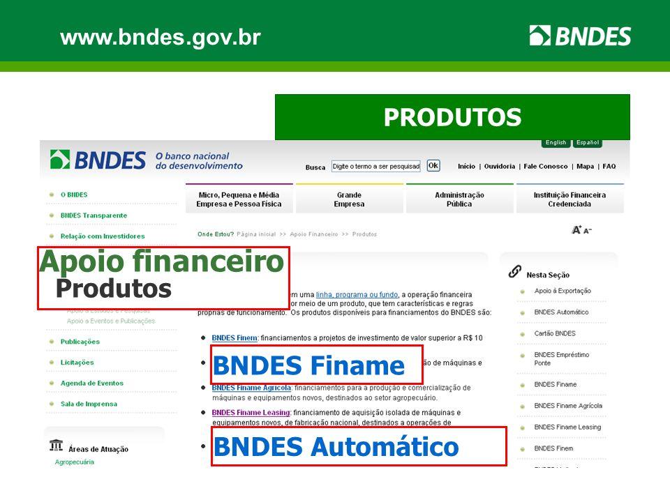 PRODUTOS www.bndes.gov.br Apoio financeiro Produtos BNDES Automático BNDES Finame