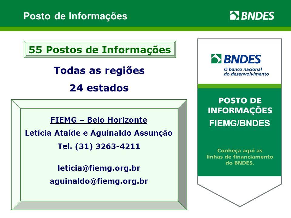 Todas as regiões 24 estados 55 Postos de Informações XXXXX / BNDES FIEMG – Belo Horizonte Letícia Ataíde e Aguinaldo Assunção Tel. (31) 3263-4211 leti