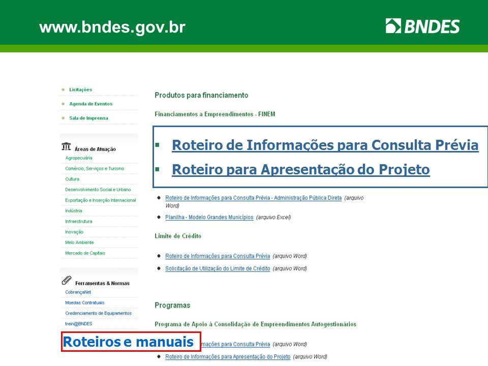www.bndes.gov.br NovosNacionais Sem limite de valor Credenciados CFI Máquinas e equipamentos Capital de giro associado = FINAME BNDES PSI Dotação orçamentária Programa: Vigência: 31/12/2010