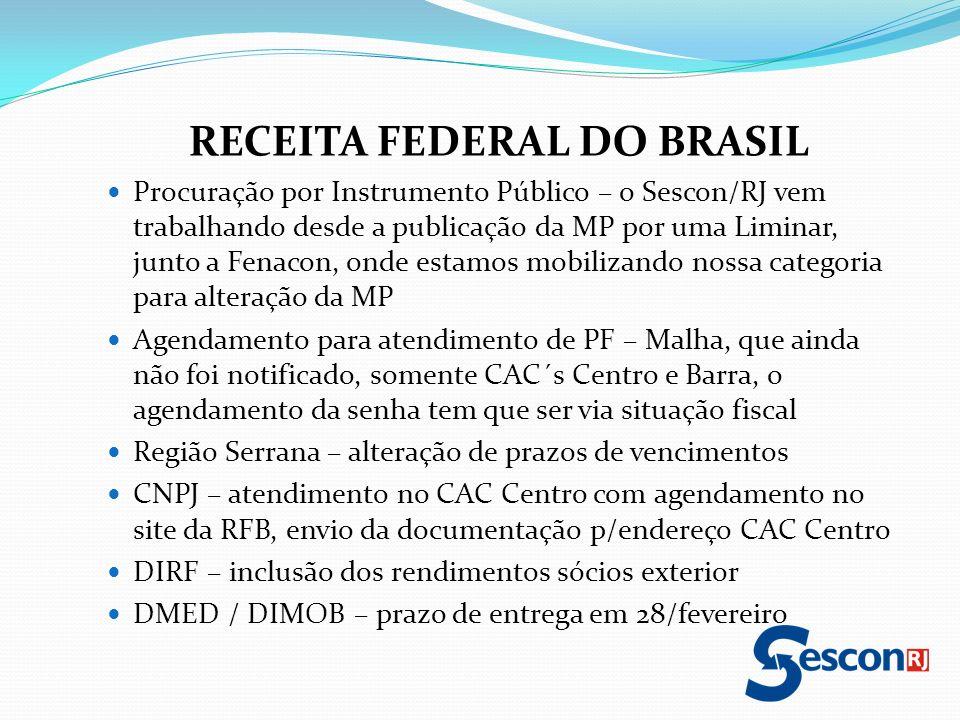RECEITA FEDERAL DO BRASIL Procuração por Instrumento Público – o Sescon/RJ vem trabalhando desde a publicação da MP por uma Liminar, junto a Fenacon,