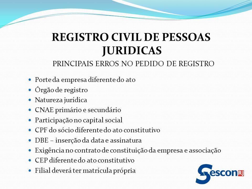 REGISTRO CIVIL DE PESSOAS JURIDICAS PRINCIPAIS ERROS NO PEDIDO DE REGISTRO Porte da empresa diferente do ato Órgão de registro Natureza jurídica CNAE