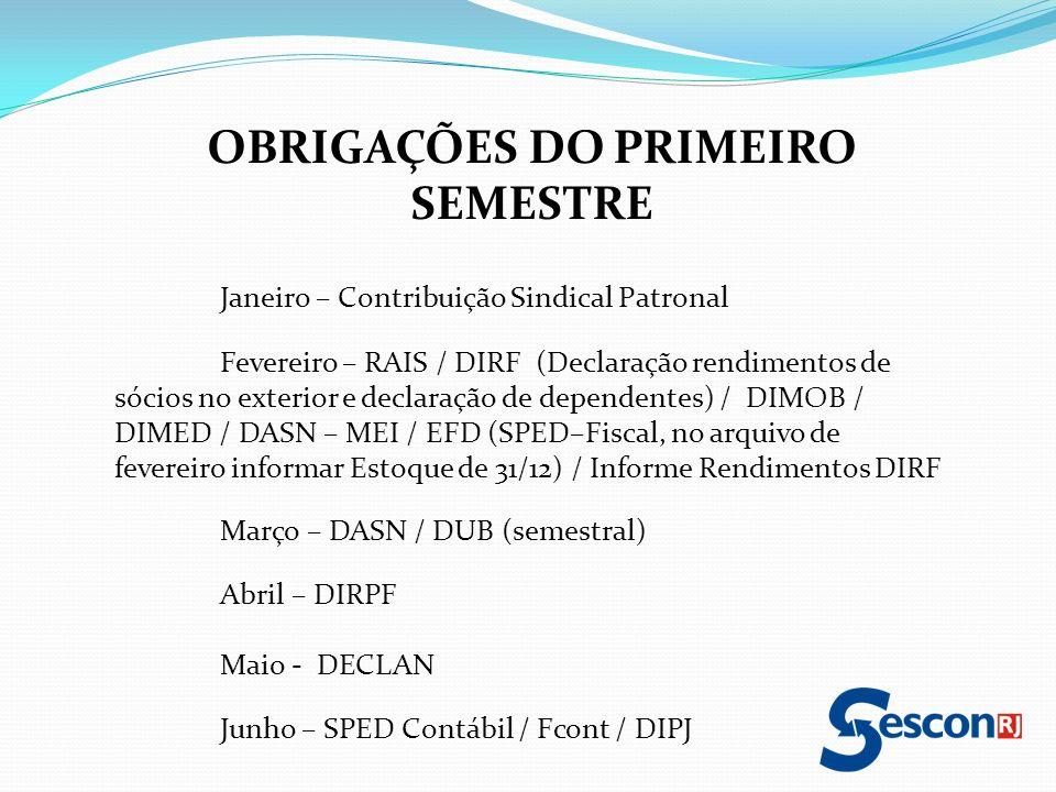 OBRIGAÇÕES DO PRIMEIRO SEMESTRE Janeiro – Contribuição Sindical Patronal Fevereiro – RAIS / DIRF (Declaração rendimentos de sócios no exterior e decla