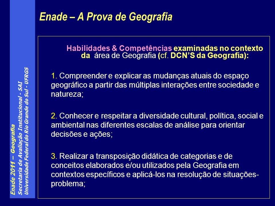 Habilidades & Competências examinadas no contexto da área de Geografia (cf.