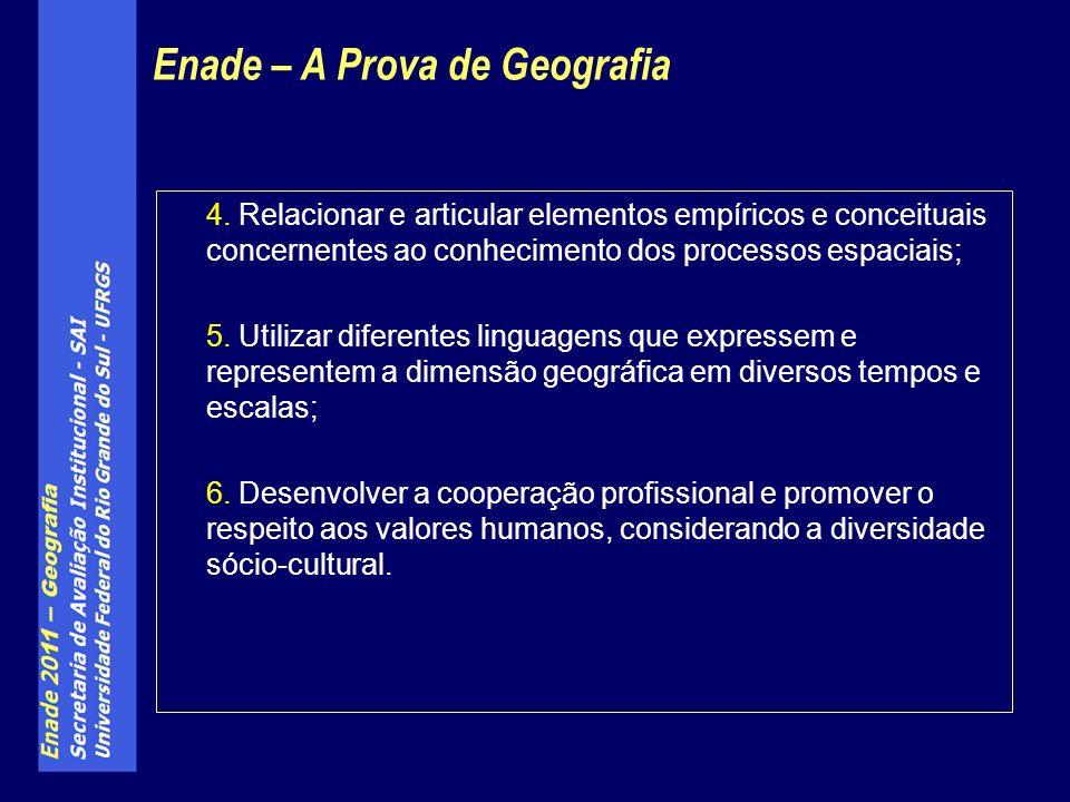 4. Relacionar e articular elementos empíricos e conceituais concernentes ao conhecimento dos processos espaciais; 5. Utilizar diferentes linguagens qu