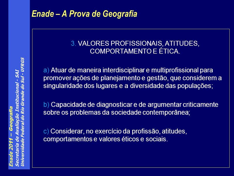 3. VALORES PROFISSIONAIS, ATITUDES, COMPORTAMENTO E ÉTICA.