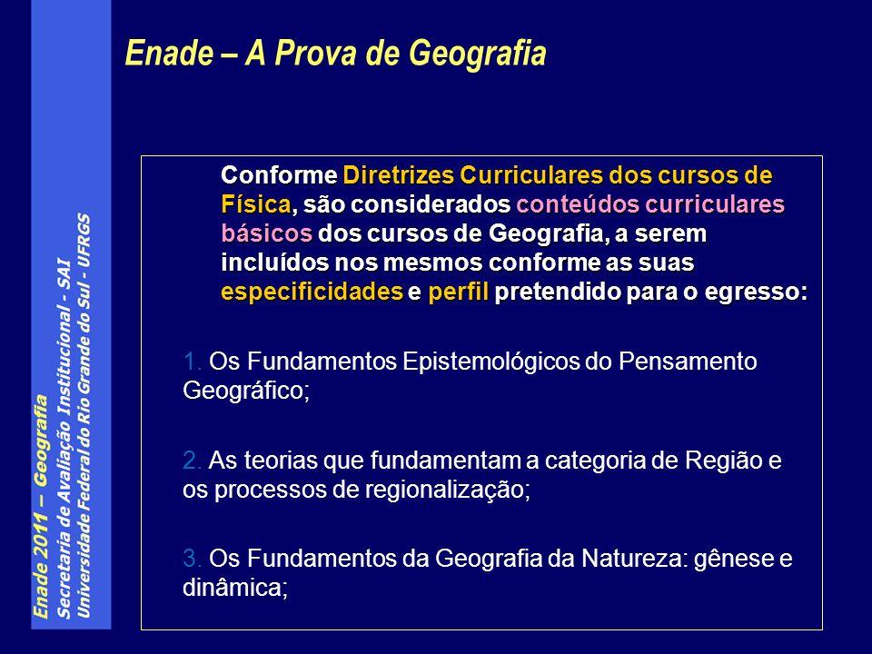 Conforme Diretrizes Curriculares dos cursos de Física, são considerados conteúdos curriculares básicos dos cursos de Geografia, a serem incluídos nos mesmos conforme as suas especificidades e perfil pretendido para o egresso: 1.