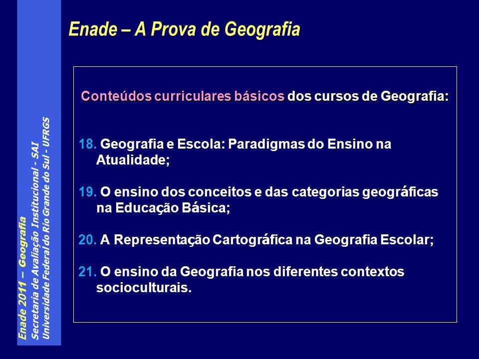 Conteúdos curriculares básicos dos cursos de Geografia: 18.